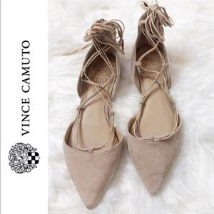 Vince Camuto lace up suede nude flats sz 7.5